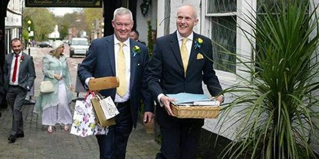 Pemberton and his husband Cunnington at their wedding in