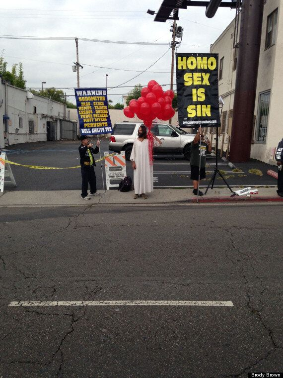 'Jesus Christ' Challenges Anti-Gay Protesters At Aids Walk