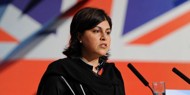 Chairman of the Conservative Party, Sayeeda Warsi delivers a speech during the first day of the Conservative...