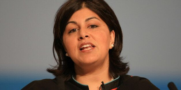 Baroness Warsi speaks during the opening session of the Annual Conservative Party Conference at the International...