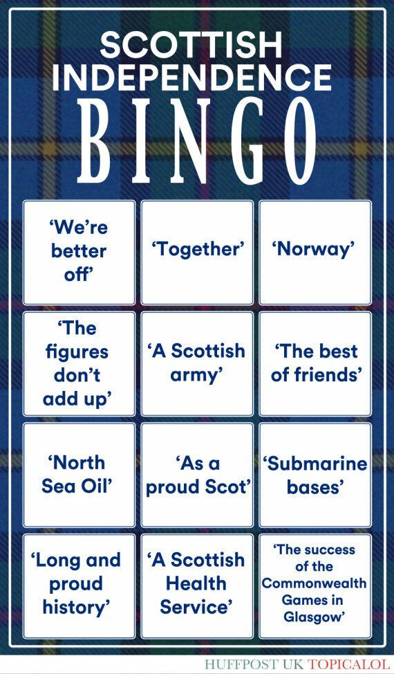 It's The Scottish Independence Debate Bingo