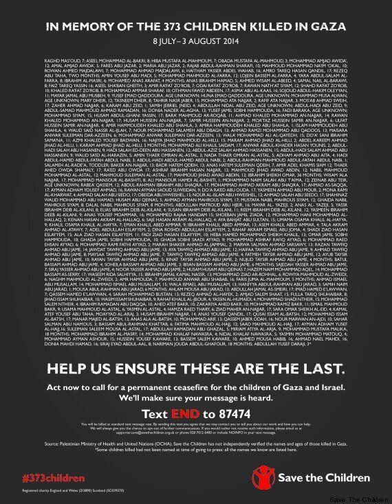 Gaza Strip Child Deaths Listed By Save The Children In Full-Page