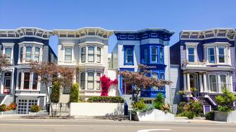 Vibrant colors of typical San Francisco houses.