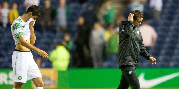 Celtic Nir Bitton and manager Ronny Deila (right) after the Champions League Qualifying at Murrayfield,
