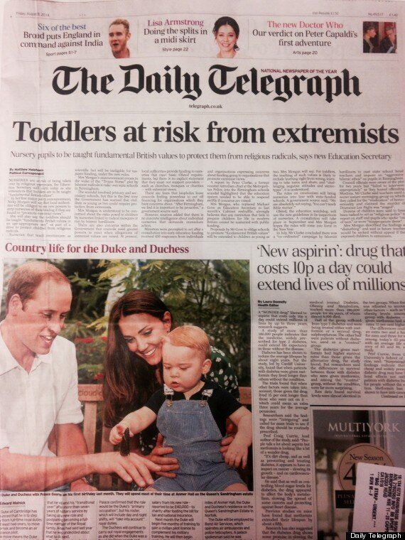 Daily Telegraph William and Kate 'Extremist Toddler' Front Page Headline Swiftly