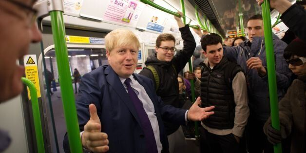 London Mayor Boris Johnson takes the tube on the District Line to Southfields where he met the founders...