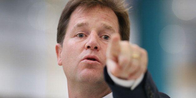 LONDON, ENGLAND - OCTOBER 08: Deputy Prime Minister Nick Clegg gestures as he speaks at the Buhler Sortex...