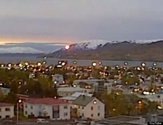 UFO 'Fireball' Filmed Slowly Falling From Sky In Akureyri Iceland