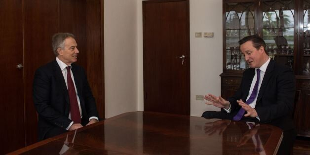 Prime Minister David Cameron (right) meets with predecessor as prime minister, Tony Blair, in his role...