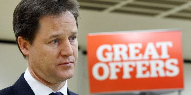 Deputy Prime Minister Nick Clegg visits a Sainsbury's supermarket in Notting Hill, London, as he urged...