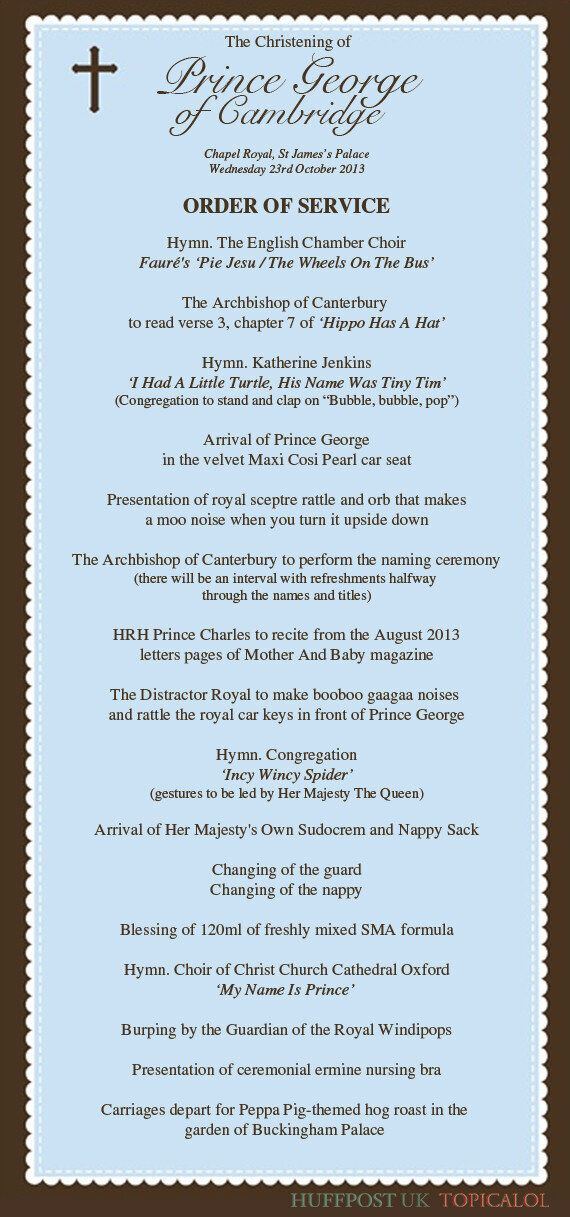 Prince George's Christening: The Order Of Service