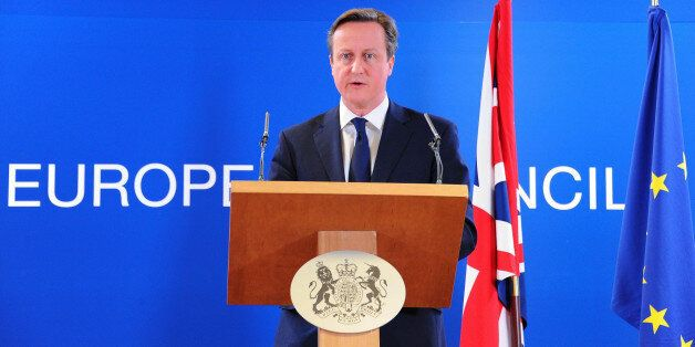 BRUSSELS, BELGIUM - MARCH 6: Prime Minister of the United Kingdom David Cameron gives a speech after...