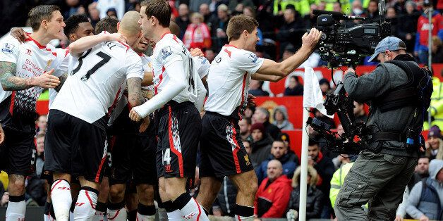 MANCHESTER, ENGLAND - MARCH 16: (THE SUN OUT, THE SUN ON SUNDAY OUT) Steven Gerrard of Liverpool celebrates...