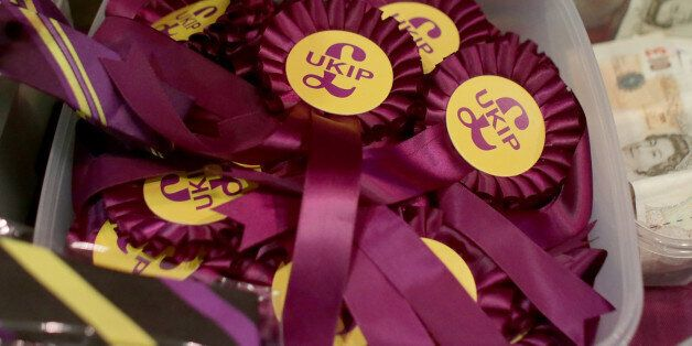 TORQUAY, ENGLAND - FEBRUARY 28: UKIP party merchandise is seen on sale at the UKIP 2014 Spring Conference...