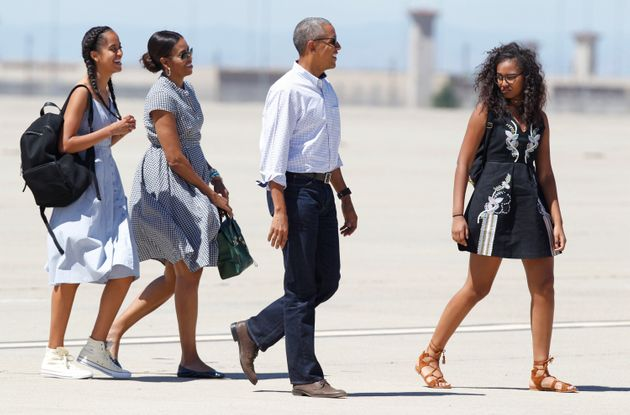 La famille Obama lors d'un séjour dans le parc national de Yosemite, en Californie, à l'été...