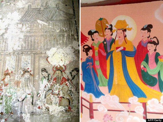 Chinese Temple Fresco 'Restored' In Garish Disney Style (Authorities Responsible