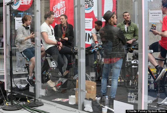 Nick Grimshaw Joined By McBusted, Danny Dyer And Davina McCall At BBC Sport Relief Cycling Challenge