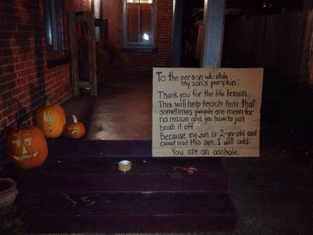 Halloween 2013: Father Addresses 'Asshole' Who Stole His Two-Year-Old Son's Pumpkin