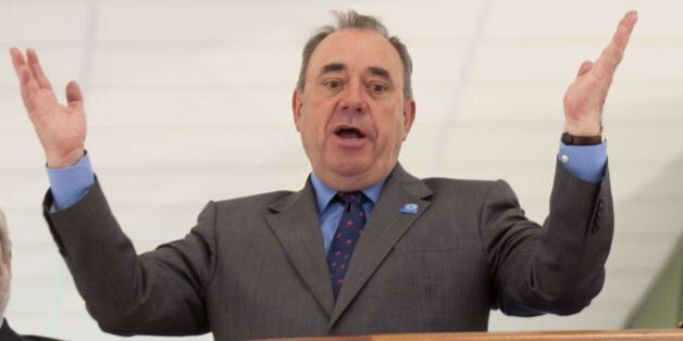 Scotland's First Minister Alex Salmond visits the Scottish Youth Theatre in Glasgow, to meet with the...