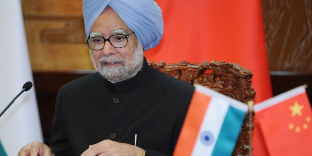 BEIJING, CHINA - OCTOBER 23: Indian Prime Minister Manmohan Singh talks during a joint news conference...