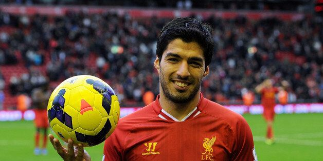 LIVERPOOL, ENGLAND - OCTOBER 26: ( THE SUN OUT, THE SUN ON SUNDAY OUT) Luis Suarez of Liverpool poses...