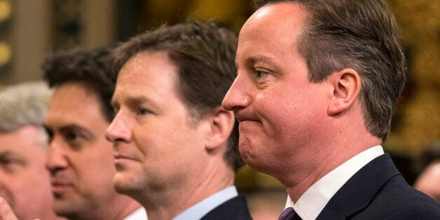 (left to right) Labour leader Ed Miliband, Deputy Prime Minister Nick Clegg and Prime Minister David...
