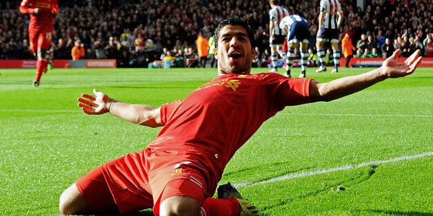 LIVERPOOL, ENGLAND - OCTOBER 26: ( THE SUN OUT, THE SUN ON SUNDAY OUT) Luis Suarez of Liverpool celebrates...