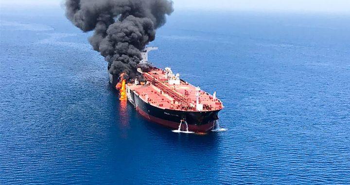 A picture obtained by AFP from Iranian News Agency ISNA on June 13, 2019, shows fire and smoke billowing from the Norwegian-owned Front Altair tanker said to have been attacked in the waters of the Gulf of Oman.
