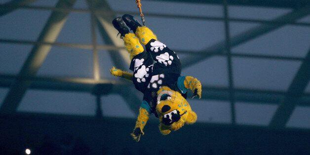 LONDON, ENGLAND - OCTOBER 27: Jacksonville Jaguars mascot Jaxson de Ville performs ahead of the NFL International...