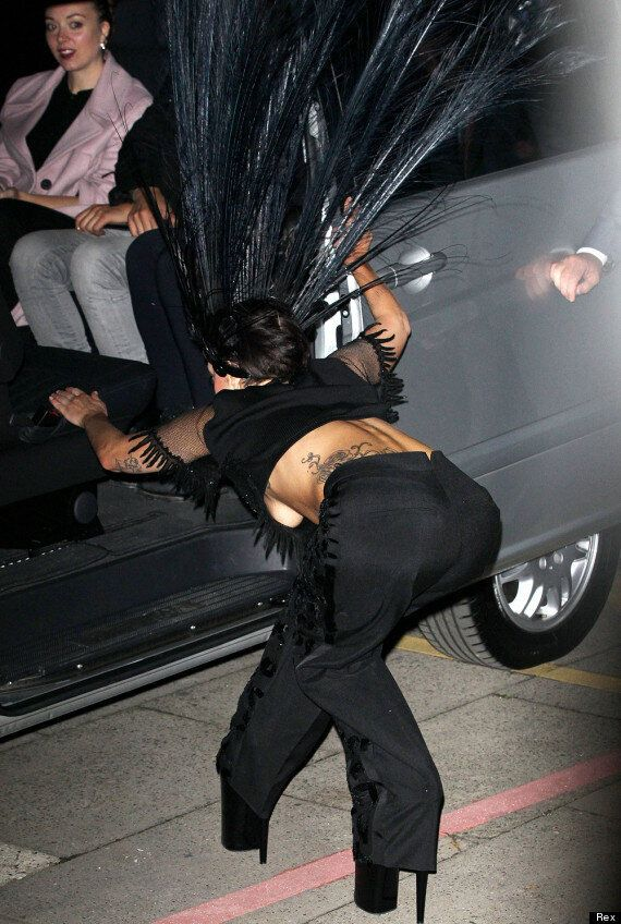 Lady Gaga Flashes Her Boob As She Arrives To Film 'The Graham Norton Show' In Giant Peacock Headdress