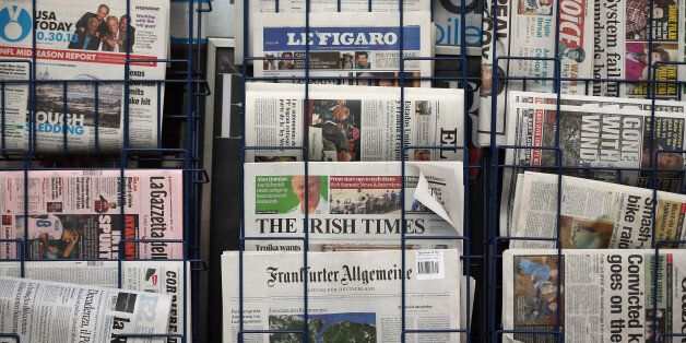 LONDON, ENGLAND - OCTOBER 30: A general view of a newspaper stand on Fleet Street on October 30, 2013...