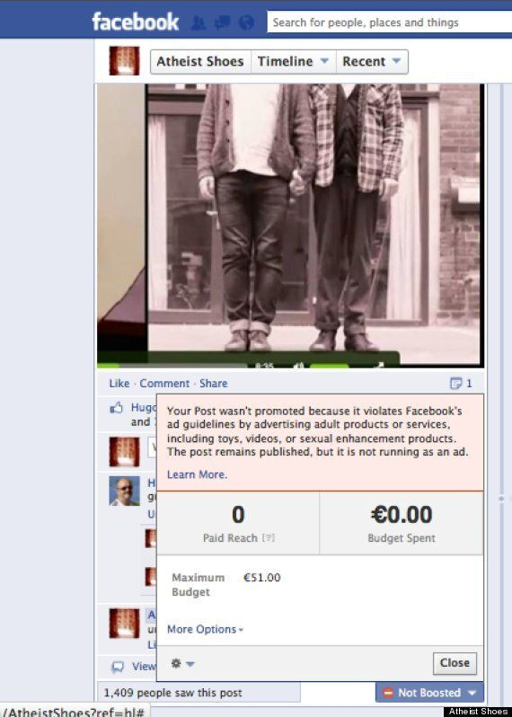Gay Couple Picture Barred By Facebook On Baby 'Atheist Shoes' Advert