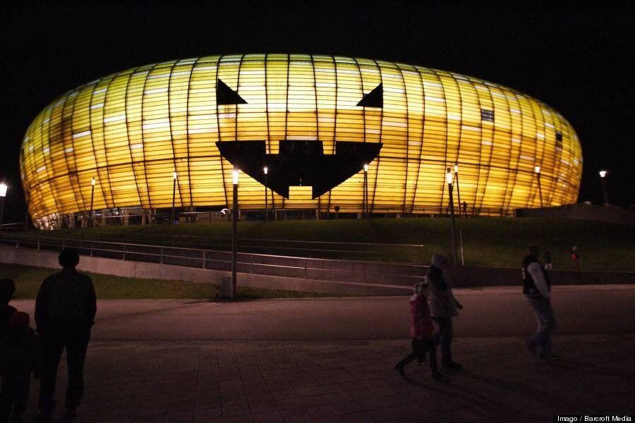 PGE Arena In Gdansk Becomes Giant Pumpkin