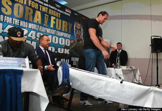 Tyson Fury Pushes Over Table At Dereck Chisora Press Conference
