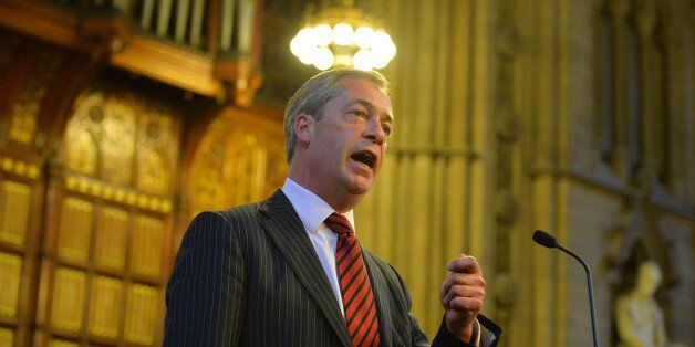 UK Independence Party (UKIP) leader Nigel Farage addresses the Bruges Group at the Manchester Town Hall...