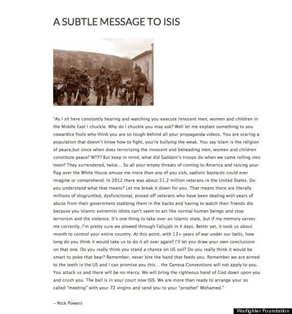 Nick Powers, Military Veteran, Writes A 'Subtle Message' To