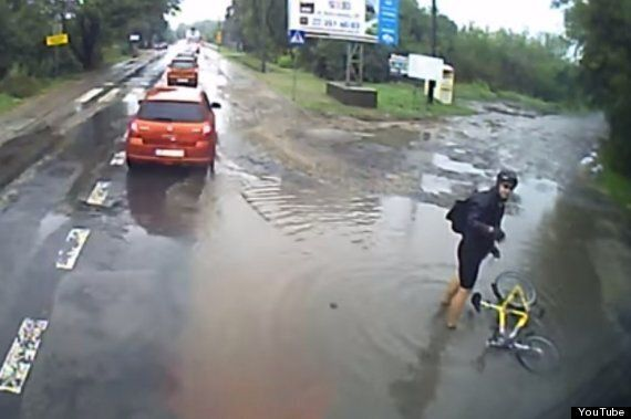 Cyclist In Poland Is Captured On Video Having A Really Unlucky