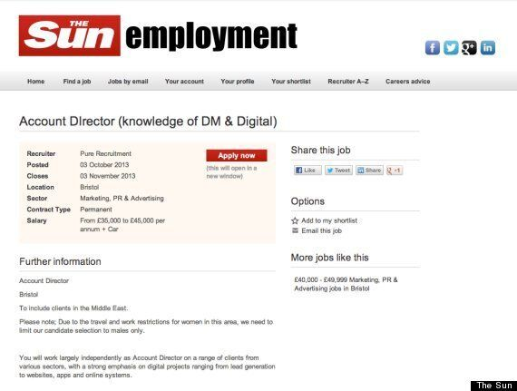 'Male Candidates Only': 'Sexist' Advert In Sun, Guardian, To Please Clients In Middle