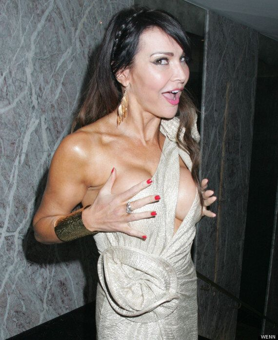 Lizzie Cundy Suffers Double Wardrobe Malfunction, Flashing Boob And Underwear At Awards Bash