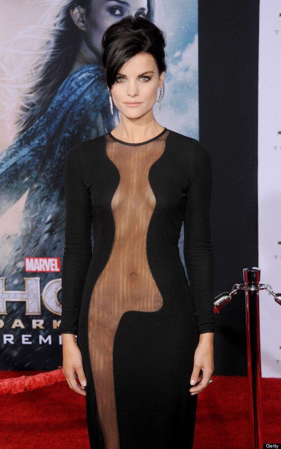 Jaimie Alexander Wears No Underwear For Daring Red Carpet Dress At 'Thor' Premiere In LA