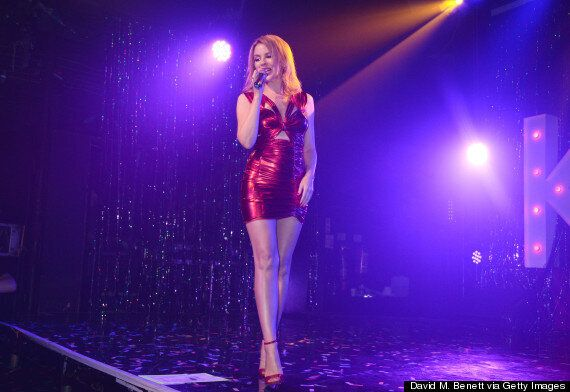 Kylie Minogue Wows In Red Dominatrix Dress At G-A-Y Performance