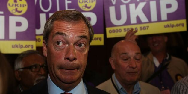 UKIP leader Nigel Farage speaks to the press after Conservative MP Robert Jenrick is announced the winner...