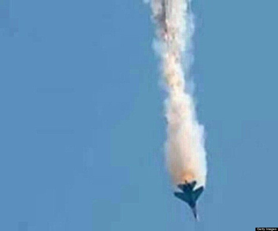 Pictures Of Syrian Military Jet Shot Down By