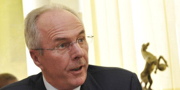 Swedish football manager Sven-Goran Eriksson smiles during a press conference with the President of the...