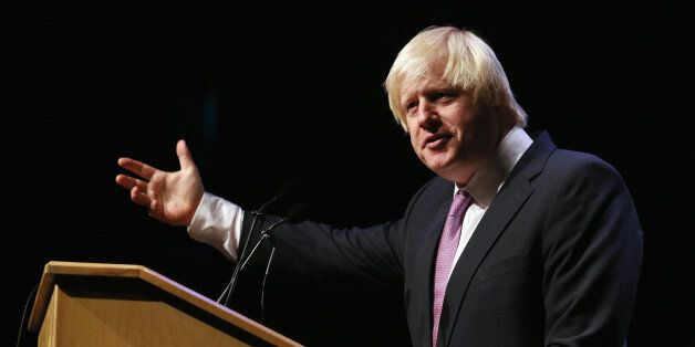 MANCHESTER, ENGLAND - SEPTEMBER 30: Boris Johnson, the Mayor of London, addresses an audience in a fringe...