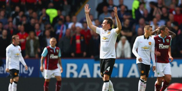 BURNLEY, ENGLAND - AUGUST 30: Phil Jones of Manchester United shows his frustration during the Barclays...