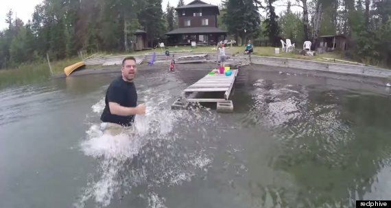 Watch This Man's Panic Trying To Save His Drone From A