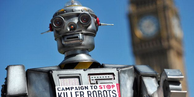 A mock 'killer robot' is pictured in central