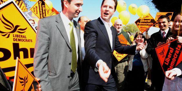 Liberal Democrat Party Leader Nick Clegg, and John Leech (left) Liberal Democrat