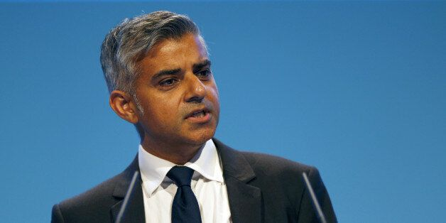 Sadiq Khan, British Shadow Secretary of State for Justice and Shadow Lord Chancellor, delivers his speech...